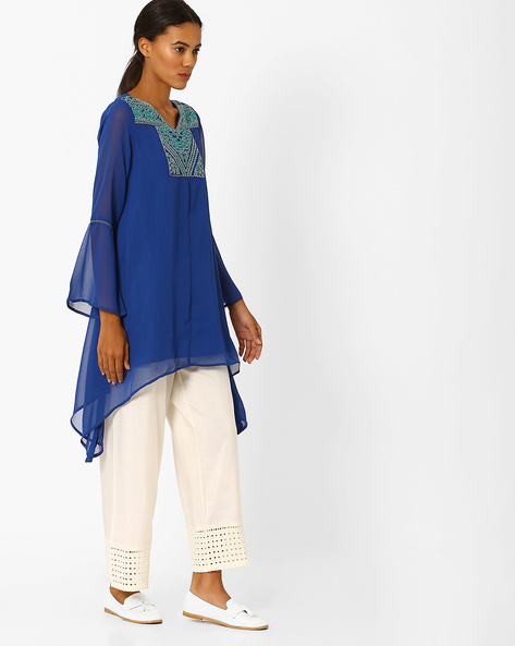 Embroidered Tunic With Dipped Hems By Global Desi ( Blue )