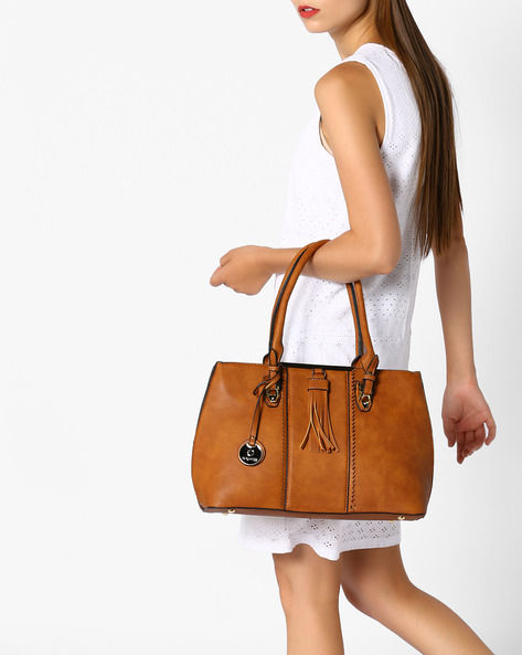 Shoulder Bag With Tassels By FUR JADEN ( Tan )