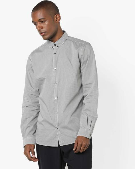 All-Over Print Shirt With Button-Down Collar By Tom Tailor ( Grey )