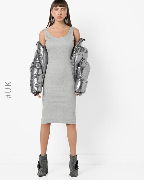 Bodycon Sleeveless Midi Dress By BRAVE SOUL ( Grey )