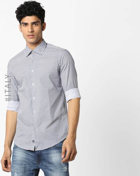 Checked Shirt With Spread Collar By ALCOTT ( Navyblue )