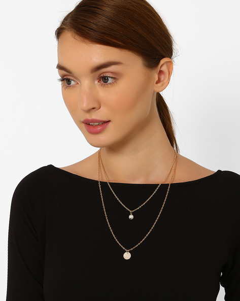 Layered Necklace With Beads By Style Fiesta ( Gold )
