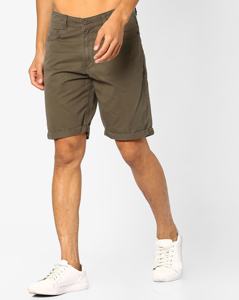 Slim Fit 5-pocket Summer Shorts By AJIO ( Olive )