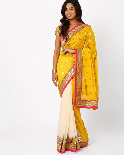 Embroidered Half & Half Saree By Viva N Diva ( Yellow )