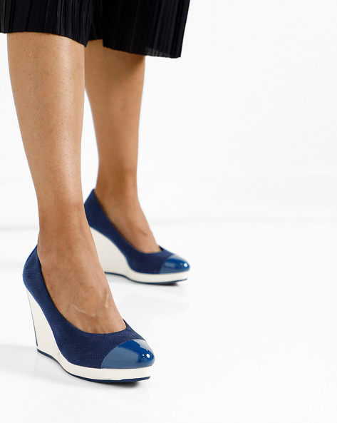 Wedges With Contrast Heel By AJIO ( Navy )