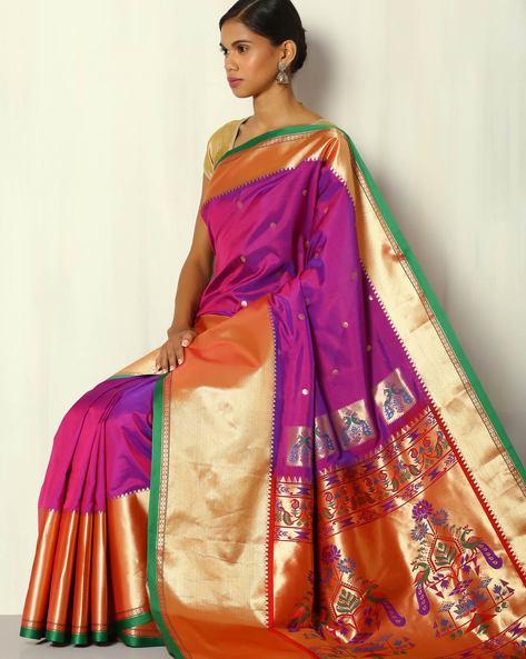 Paithani Style Pallu South Silk Saree By BANASURI ( Purple )