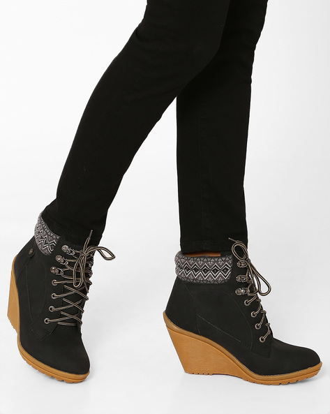 High-Top Lace-Up Boots By Carlton London ( Black )