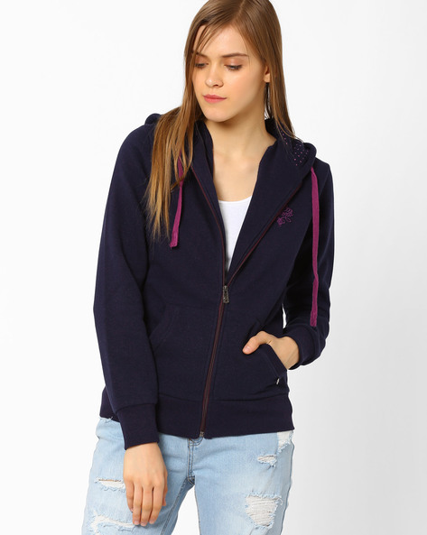 Hooded Sweatshirt With Zipper By TAANZ WOMENS ( Assorted )
