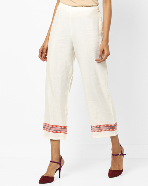Calf-Length Pants With Printed Hems By Global Desi ( Offwhite )