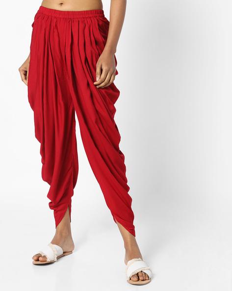 Dhoti Pants With Elasticated Waist By AJIO ( Maroon )
