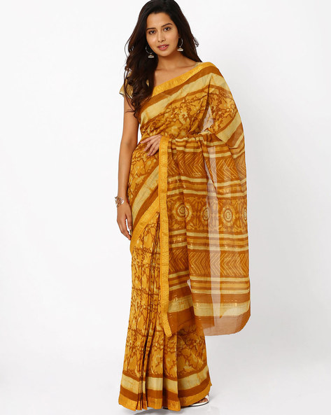 Printed Maheshwari Saree With Zari Border By Indie Picks ( Yellow )