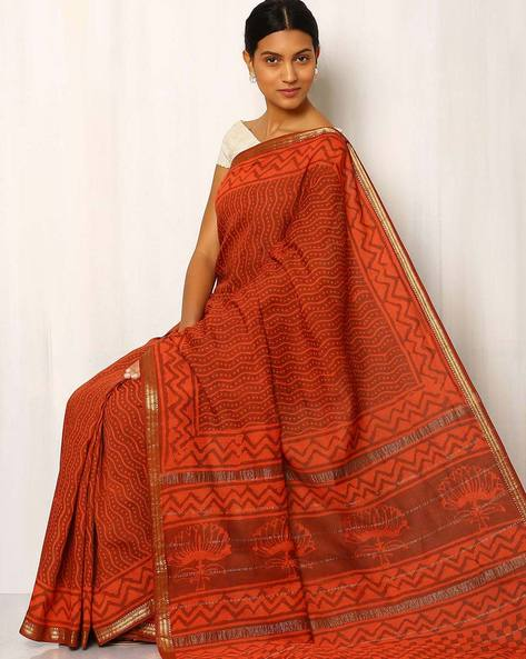 Geometric Print Maheshwari Saree With Zari Border By Rudrakaashe-MSU ( Orange )