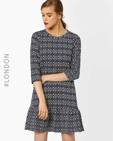 Printed Pep-Hem Drop Waist Dress By Closet London ( Navyblue )