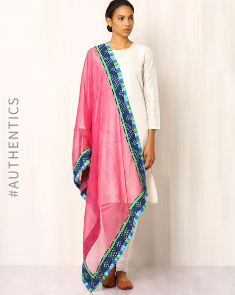Hand Block Print Kota Dupatta With Patch Work By Indie Picks ( Pink )