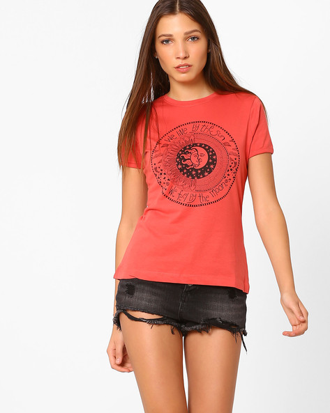 Graphic Print Crew-Neck T-shirt By AJIO ( Orange )