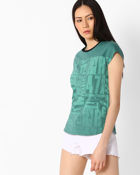 Printed Crew-Neck T-shirt By WRANGLER ( Blue )