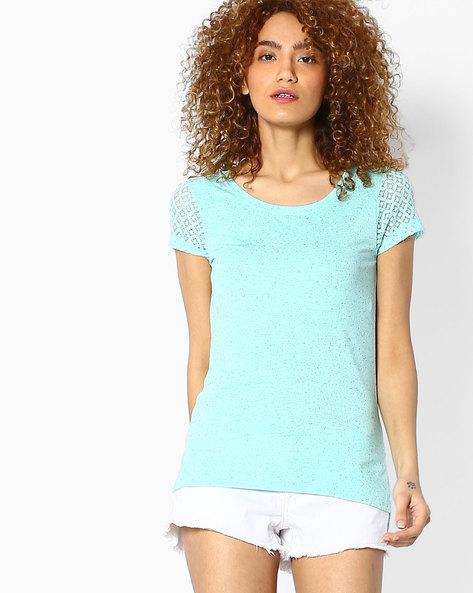 Speckle Print Top With Lace Sleeves By BOSSINI ( Aqua )