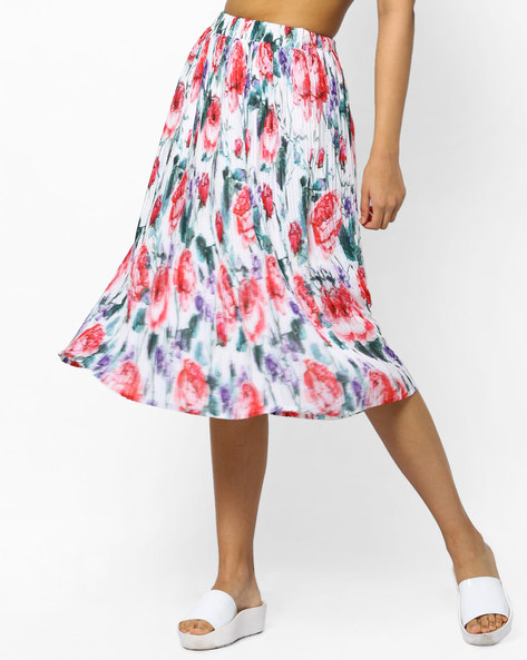 Floral Print Pleated Skirt By PE WW Evening ( White )