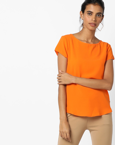 Top With High-Low Curved Hemline By UNITED COLORS OF BENETTON ( Orange )