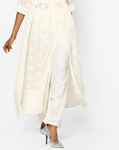 Embroidered Palazzos With Cut Work By Shree ( Offwhite )