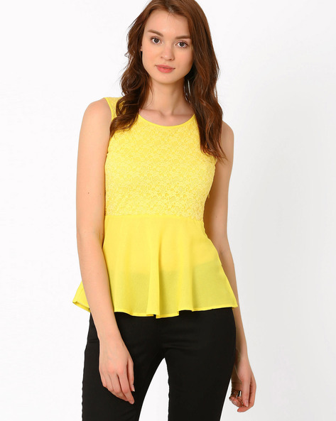 Lace Peplum Top By PrettySecrets ( Yellow )