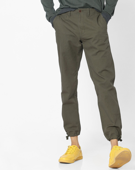 Flat-Front Ankle-Length Trousers By DNMX ( Olive )