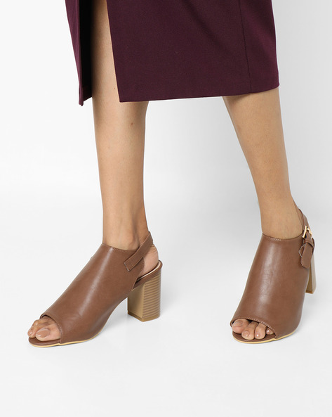 Chunky Heels With Buckle Closure By AJIO ( Brown )