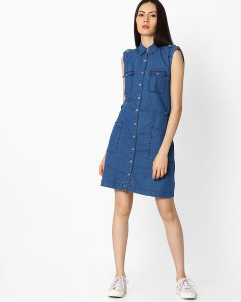 Denim Shirt Dress By Pepe Jeans ( Blue )