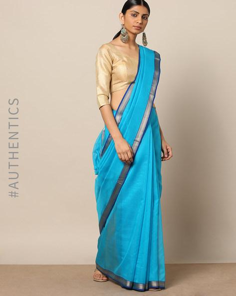 Handloom Pure Silk Cotton Maheshwari Saree By Indie Picks ( Blue )