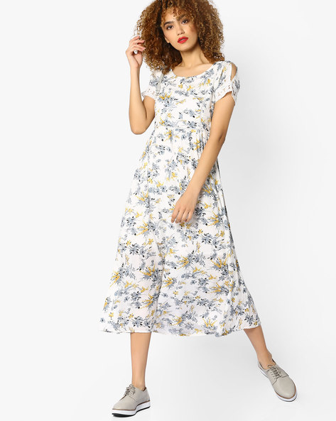 Floral Print Midi Dress With Cold-Shoulder Sleeves By CODE By Lifestyle ( Offwhite )