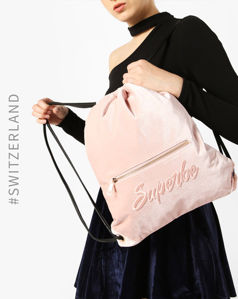 Drawstring Backpack With Front Zipper By TALLY WEiJL ( Pink )