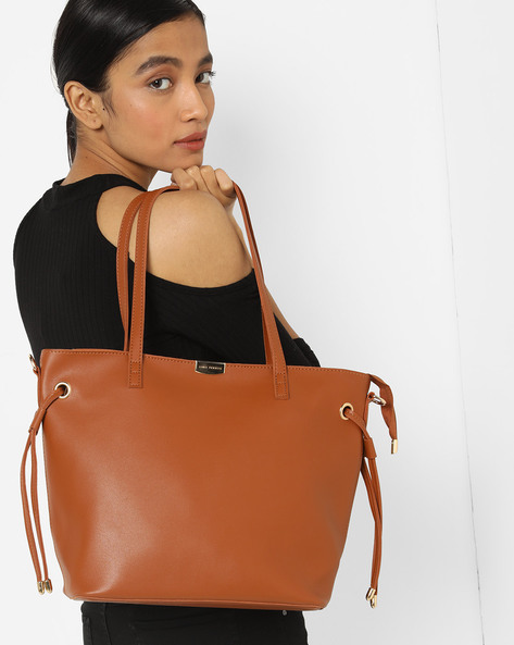 Tote Bag With Pouch By Lino Perros ( Tan )