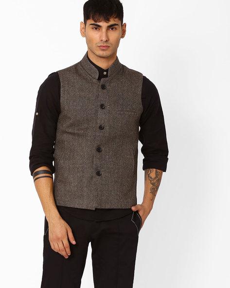 Regular Fit Nehru Jacket By DUKE ( Brown )