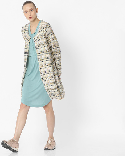 Knitted Cardigan With Pockets By DUKE WOMEN'S ( Cream ) - 440822999010