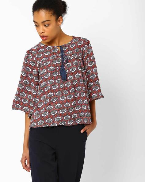 Printed Top With Flared Sleeves By FIG ( Maroonburg )