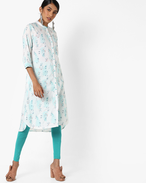 Printed Kurta With Mandarin Collar By AJIO ( Blue )