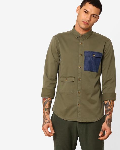 Cotton Shirt With Denim Patch Pocket By ADAMO LONDON ( Multi )