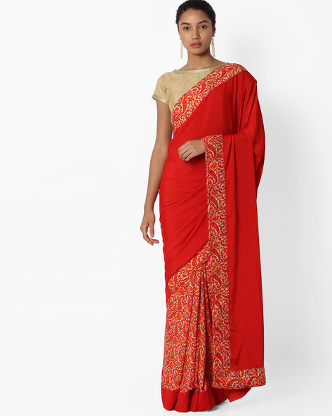Printed Saree With Blouse Piece By VIPUL ( Red )