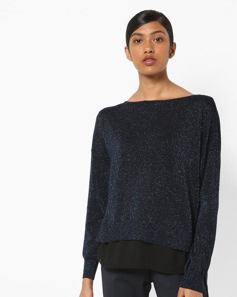 Speckled Pullover With Open Back By Only ( Darkblue )