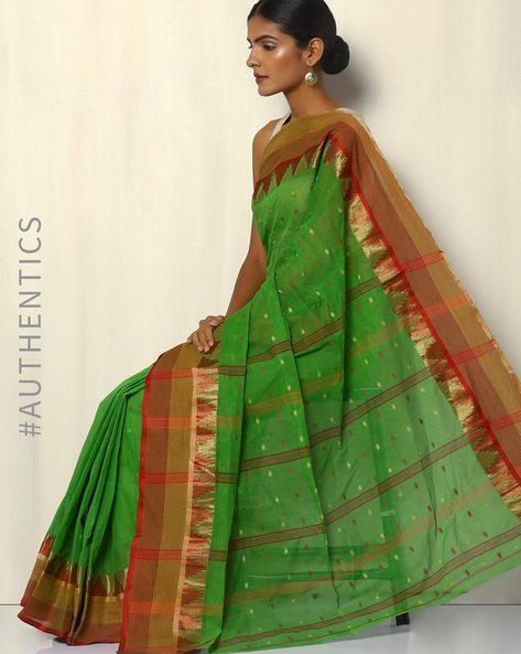 Bengal Handloom Tant Tangail Buti Cotton Saree By Indie Picks ( Green )