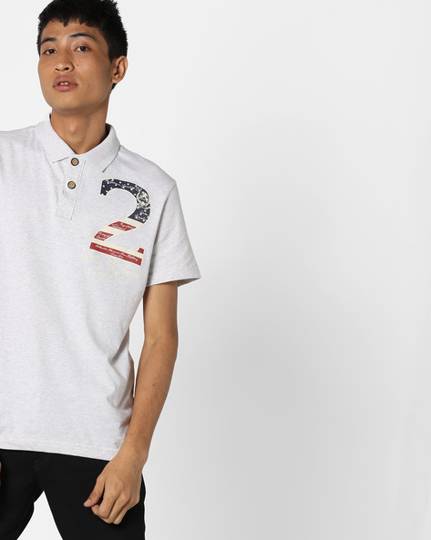 Polo T-shirt With Chest Print By US POLO ( Ecru )