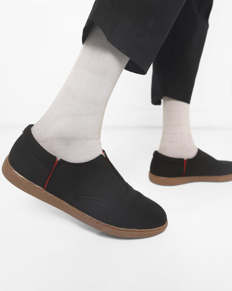 Panelled Slip-On Shoes By AJIO ( Black )