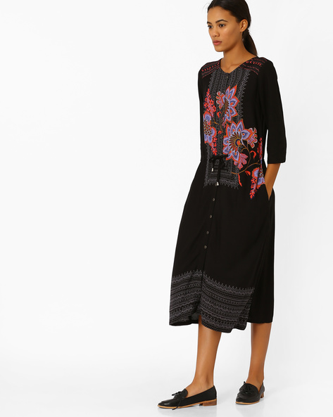 Floral Print A-line Dress By Global Desi ( Black )