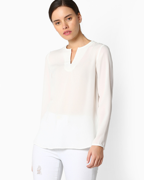 High-Low Hem Top By FIG ( Offwhite )