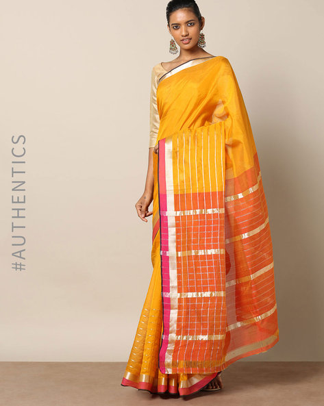 Handloom Mangalagiri Cotton Silk Saree With Zari Stripes By Indie Picks ( Rust )