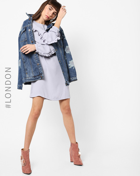 Shift Dress With Ruffled Sleeves By Glamorous ( Grey )