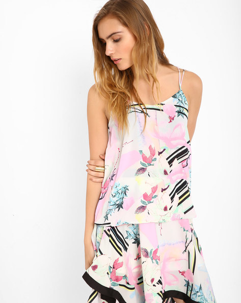 Printed Strappy Tank Top By RIDRESS ( Multi )