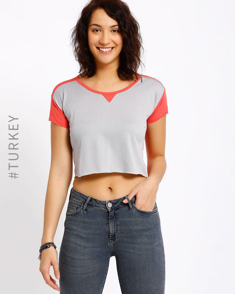 Crop Top With Shoulder Zip By Cross Jeans ( Grapefruit )