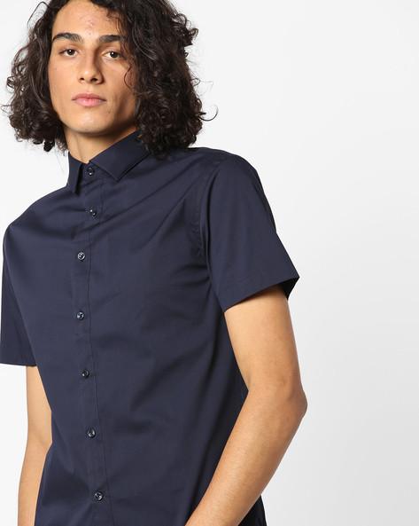 Slim Fit Shirt With Curved Hem By Celio ( Marine )