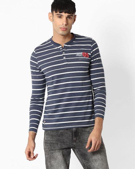 Striped Henley T-shirt By TEAM SPIRIT ( Blue )
